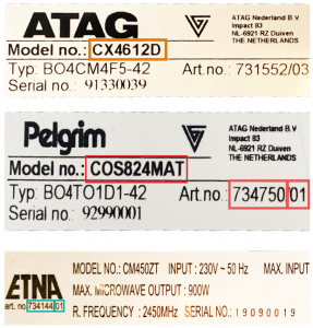 ATAG Pelgrim ETNA type en model nummer